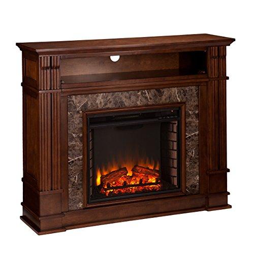 SEI Furniture Highgate Electric Hidden Media Shelf Fireplace, Whiskey Maple, Faux Granite