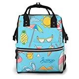 NHJYU Bolsa de pañales, Large Capacity Waterproof Travel Ma-na-ger,baby Care Replacement Bag Versatile Stylish And Durable, Suitable For Mom And Dad,Summer Elements Design Set With Hand Drawn