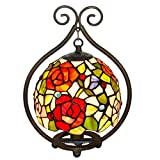 Lámpara de Mesa para Interior,Lámpara de Mesita de Noche con Pantalla de Vitrales de 6...