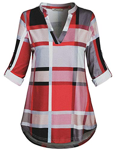 SeSe Code Petite Blouses for Women, Women's 3/4 Cuffed Sleeve Cute V-Neck Plaid Tunic Stylish Pretty Fall Drapey Slim Fit Semi Formal Business Office Long T Shirts for Leggings Pink Medium