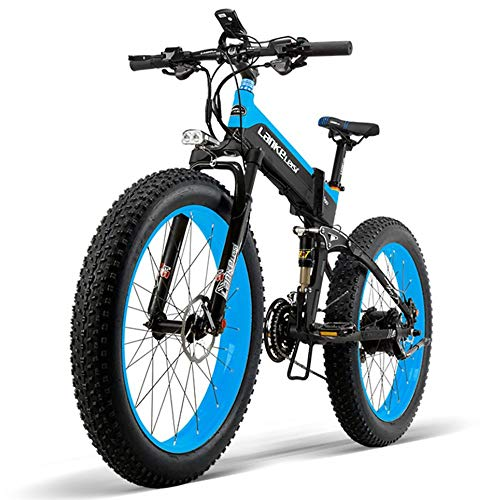 COKECO Electric Mountain Bike 400W High-Speed Motor,48V10Ah Lithium Battery, 264.0 Inch Electric Bicycle Fat Tire All Terrain Folding Electric Snow Mountain Bike 27 Speed
