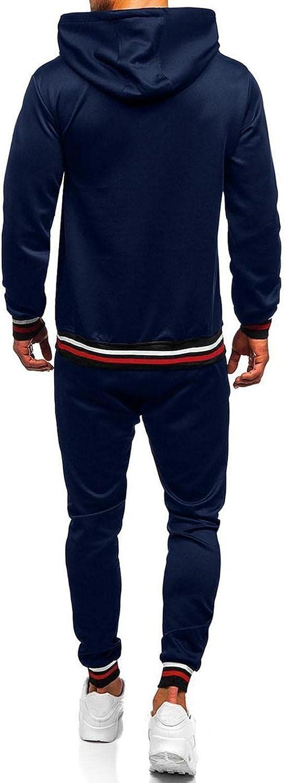 WUAI-Men Casual Tracksuit Long Sleeve Hoodies Sweatshirt Sports Pants Set Running Jogging Workout Athletic Sweat Suits