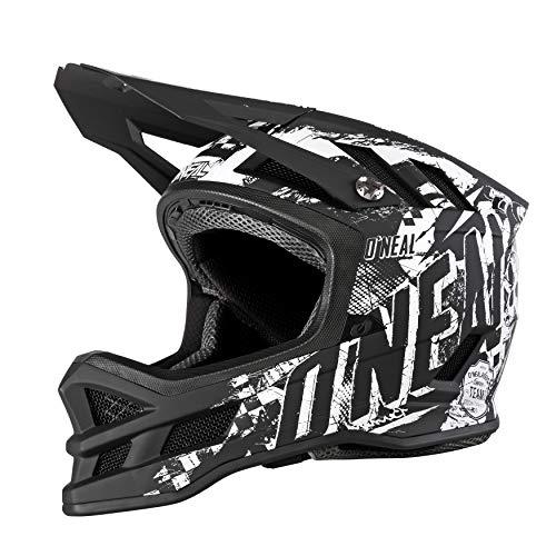 O'NEAL | Mountainbike-Helm | MTB Downhill | Dri-Lex® Innenfutter, Ventilationsöffnungen für Kühlung, Fiberglas Außenschale | Blade HYPERLITE Helmet Rider | Erwachsene | Schwarz Weiß | Größe M