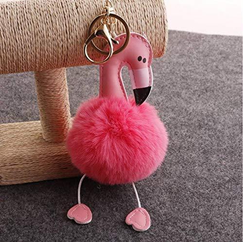 Schattige Zachte Pluizige Pompom Sleutelhanger Knuffel Pop, Sleutelhanger Hanger Bedels Knuffels Voor Kinderen Cadeau 14Cm (Roze Kleur)