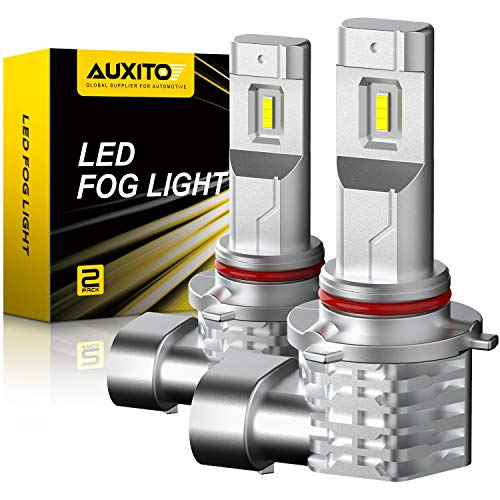 AUXITO 9145 9140 H10 LED Fog Light Bulb Fanless, 3400LM Per Set, 6500K Cool White, CSP LED Chips, Fog Light Bulbs or DRL Replacement, Pack of 2