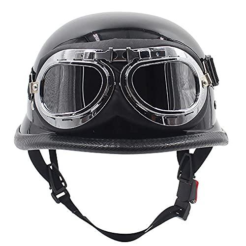 ZYTOSETR Medio Casco de Motocicleta Retro para Hombres y Mujeres con Gafas, Gorra de Seguridad Unisex para Adultos, para Scooter, Bicicleta, Crucero, helicóptero, ciclomotor (55-60 cm)