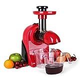 Klarstein Fruitpresso Rosso - Slow Juicer pour jus de fruit frais vitaminés / extracteur de jus à vitesse lente pour conservation de vitamines (150W, 80 tours/min, 2 vitesses) - rouge