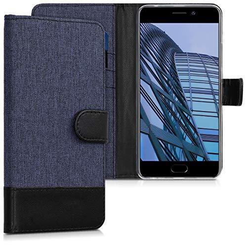 Preisvergleich Produktbild kwmobile Meizu M6 Note Hülle - Kunstleder Wallet Case für Meizu M6 Note mit Kartenfächern und Stand - Blau Schwarz
