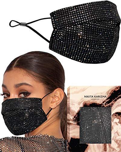 Black Crystallised Face Mask by KARIZMA Fabric Face Masks