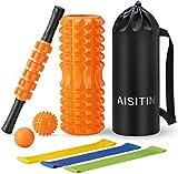 AISITINヨガポール フォームローラー 筋膜リリース グリッドフォームローラー スティック ストレッチ ボール ローラー エクササイズバンド 7点セットフィットネス トレーニング器具 ストレス解消 収納袋付き