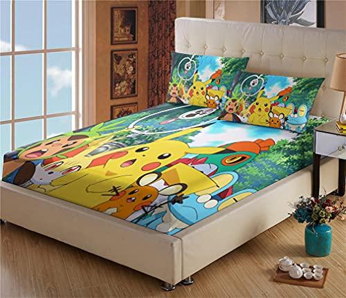 Drap Plat 2 Personnes - Drap Housse Pokémon Pikachu - Microfibre - Impression numérique 3D - Housse Poche Profonde 30cm - Résistant Rides - avec Taies d oreiller(#5,140 * 190cm + 65 * 65cm × 2)