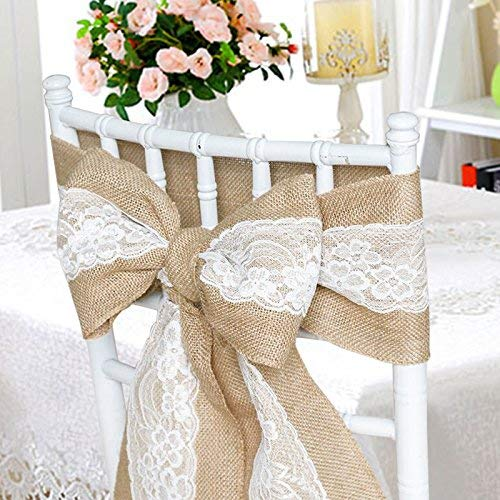 Lot de 10 rubans de chaise en toile de jute avec bords cousus en dentelle Style shabby chic