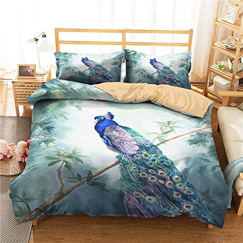 Meiju Duvet Cover 3D, Single Double Super King Size Bed Peacock & Bird Print 3 Pieces Quilt Bedding Set with Pillowcases Microfiber Ultra Soft Breathable Easy Care (Branches,200x200cm)