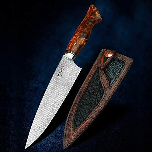 Best Quality Kitchen Knives 7 Inch Damascus Chef's Knife Japanese Gyuto Knives Professional Kitchen Cooking Tools Handmade Carved Leather Sheath 60HRC