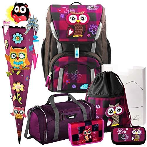 Olivia The OWL - Eule - Schneiders Toolbag SMART Schulranzen-Set 8-TLG. mit FEDERMAPPE, Sporttasche mit NASSFACH, 3D-Schnellbastel-SCHULTÜTE und SCHULTÜTEN-SCHMUCK-Set - 78320-051