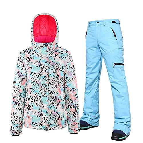 DRT vrouwen skateboard pak outdoor winter-Veneer dubbelzijdig skipak vrouwen pak waterdicht windproo fleopard print jas en broek