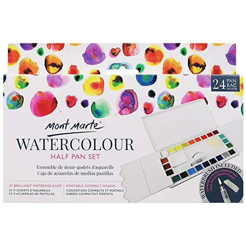 Mont Marte Watercolor Half Pan Set, 27 Piece. Includes 24 Watercolor Paints, Integrated Mixing Wells, 1 Water Brush, 1 Ceramic Dish and 1 Natural Sponge.