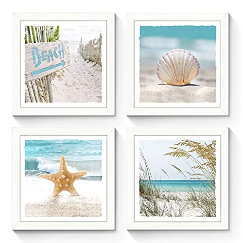 SunFlax Ocean Wooden Framed Gallery Artwork: Beach Theme Starfish Wall Art Collection Conch Picture Prints Wall Decor Set of 4 for Bathroom (Multi-Style)