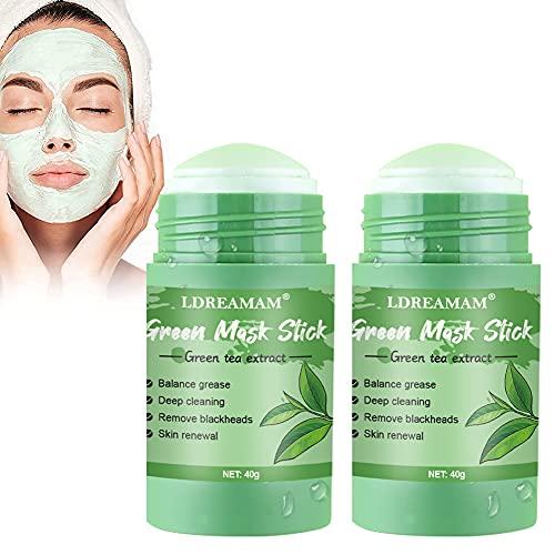 Green Mask Stick,Masque en Bâton D'argile Purifiant au Thé Vert,Green Masque Argile,Dissolvant de points noirs Masque solide nettoyant pour l'acné Pores Shrink(2pcs)