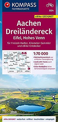 KOMPASS Fahrradkarte Aachen, Dreiländereck, Eifel, Hohes Venn 1:70.000, FK 3324: reiß- und wetterfest mit Extra Stadtplänen (KOMPASS-Fahrradkarten Deutschland, Band 3324)