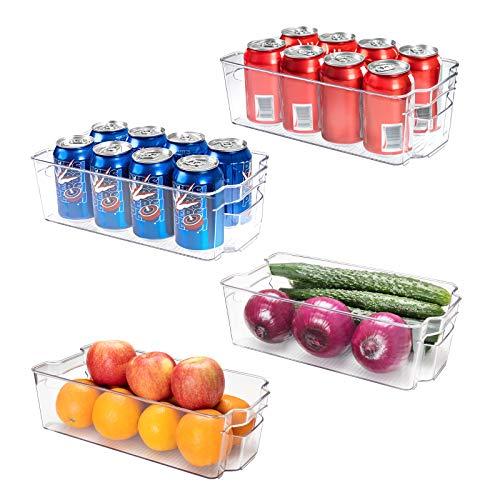 SMARTAKE Refrigerator Organizer Bins, 4-Pack Food Storage Bins, Clear Plastic Stackable Soda Can Organizer with Handle, for Freezer Cabinet Fridge Kitchen Organization and Storage (4 Medium)