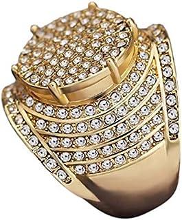 CUHAWUDBA Vintage Oro Amarillo Lleno Blanco Joya Anillo Mujeres Hombres Joyería de la Boda Diamante de Imitación Lleno Des...