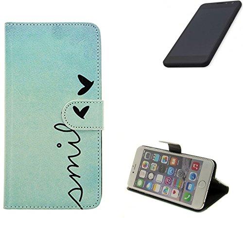 K-S-Trade® Schutzhülle Für Shift Shift5.3 Hülle Wallet Case Flip Cover Tasche Bookstyle Etui Handyhülle ''Smile'' Türkis Standfunktion Kameraschutz (1Stk)