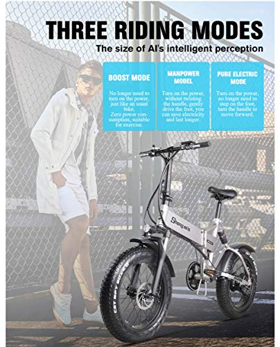 51LJdaq+UjL - Shengmilo MX21 eBike Elektrofahrrad 20 Zoll e-Bike Mountainbike Klappbar Electric Fahrrad ebike Herren Damen 4.0 Fetter Reifen 500W bürstenlosem Moto 48V Lithium Batterie