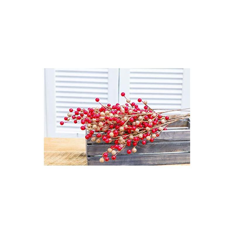silk flower arrangements collection by tiffany artificial berry sprays | 12 sprays | hand wrapped l home decor l flower decor l wedding decor l christmas décor l indoor décor (glitter gold red)
