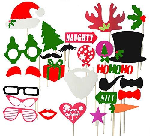 Unique Store 27 Pezzi Natale Christmas Photo Booth Props Accessori Fai da Te Selfie Puntelli Santa Baffi Maschere Partito Divertente Kit per Evors Favors Party Decorazione