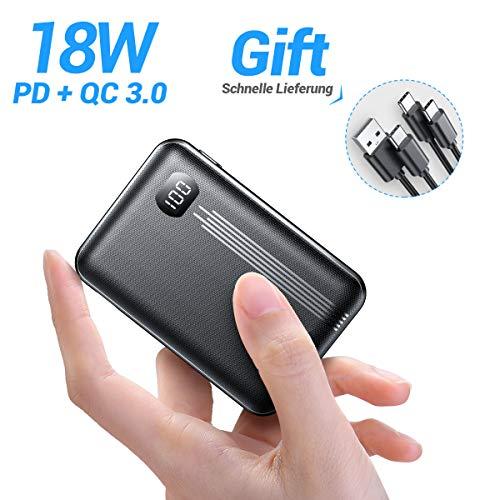 [2020 Upgraded Version] 10000mAh Mini PD Powerbank [ Dual QC3.0 Port ] [ USB-C Input & Output ], 3A Quick Charge Externer Akku, kompatibel mit iPhone, Samsung, iPad Pro