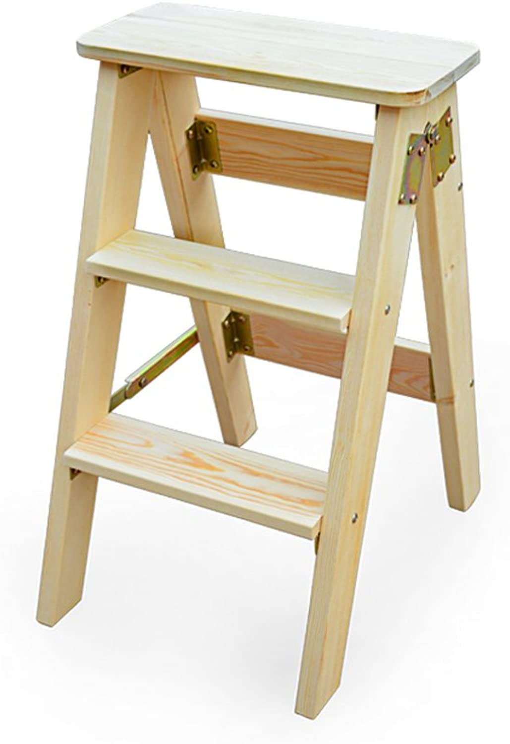 Folding Stool Solid Wood Step Stool Kitchen high Stool Portable Ladder high Stool Multifunctional Modern Simple Stool Furniture (color   B, Size   604020cm)