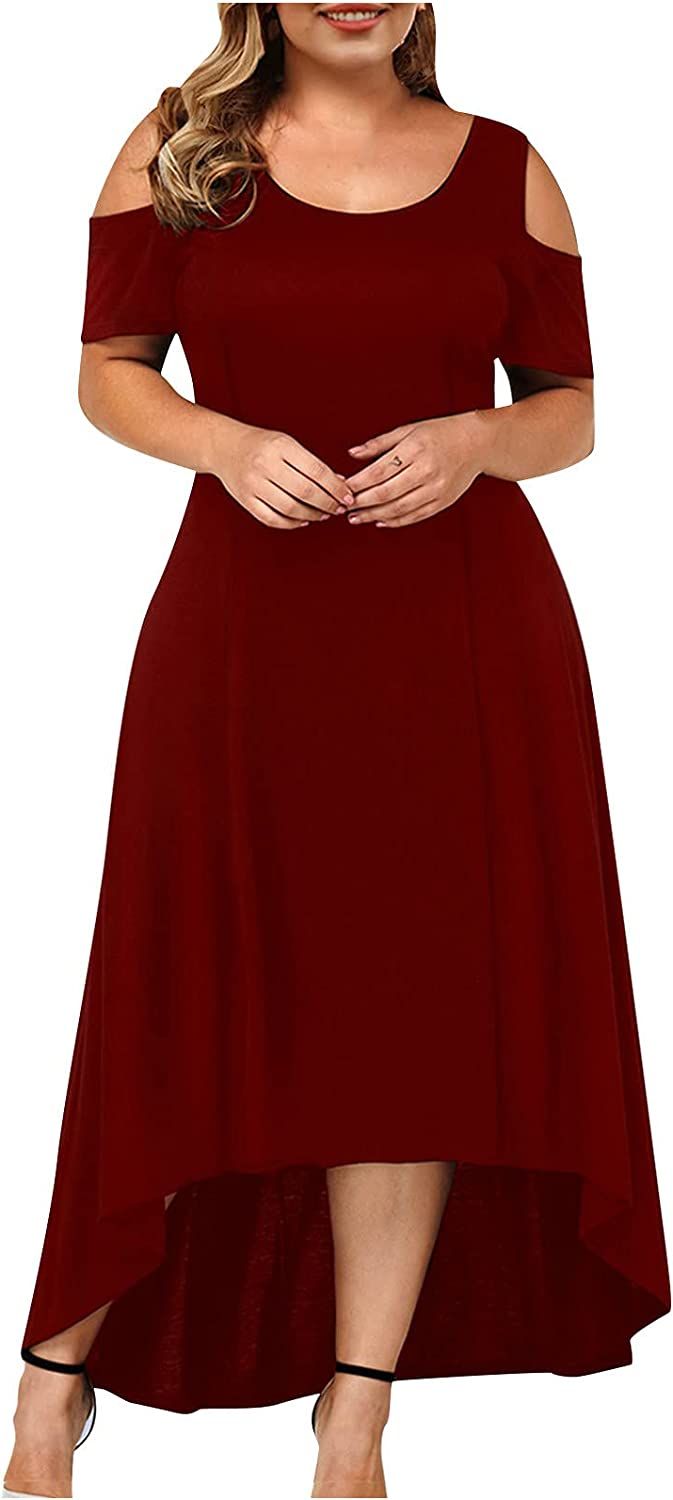 Women's Plus Size Dress with Lace Trim Cold Shoulder Short Sleeve Low High Formal Cocktail Party Dress for Women