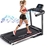 DR.GYMlee Folding 3 Manual Incline 280LB Weight-Capacity Smart Treadmill, Easy Assembly Electric Motorized Running Machine for Home Use with LCD Screen/Heart Rate Monitor/Phone Cup Holder (M7 Plus)