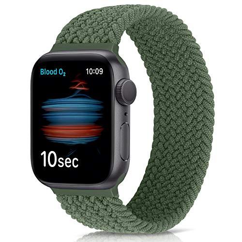 Runostrich Solo Loop Cinturini Compatibile per Apple Watch 40 mm 38 mm, Intrecciato Sport Cinghie per iwatch 6/SE/5/4/3/2/1 (38 mm/40 mm: #6 (polso 157 mm-164 mm), Verde oliva)