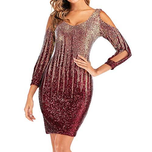 Hotkey Vestido feminino casual, plus size, colado ao corpo, lantejoulas, coquetel, noite, festa, vestido tomara que caia, Vermelho, P