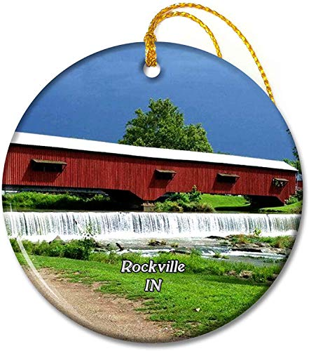 Rockville Bridgeton Covered Bridge Indiana USA Ornaments 2.8 inch Ceramic Round Holiday Ornament Pandent for Family Friends