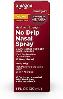 Amazon Basic Care No Drip Nasal Spray, Oxymetazoline HCl; Provides 12 Hour Nasal Congestion Relief, 1 Fl Oz