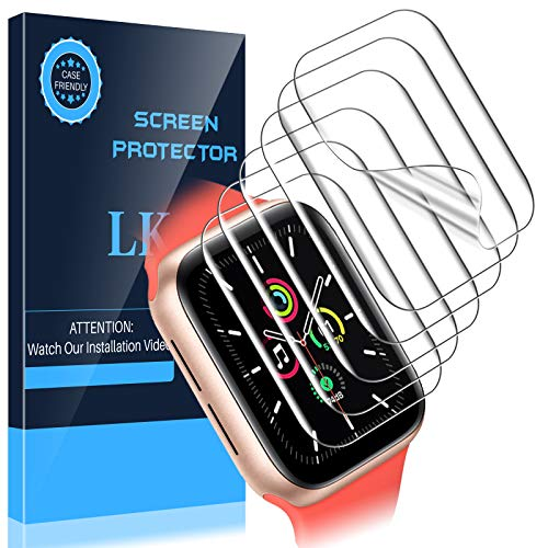 LK 6 Pack Screen Protector Compatible with Apple Watch SE 44mm, Max Coverage, Case Friendly, Bubble Free, iWatch SE 44mm, HD Transparent Flexible TPU Film