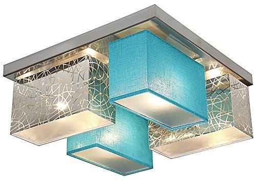 Deckenlampe - Wero Design Eris-004 F (Silber A/Türkis Transparent) - Deckenleuchte, Leuchte, 4-flammig, Holz, Stoff, LAMPENSCHIRME MIT BLENDEN
