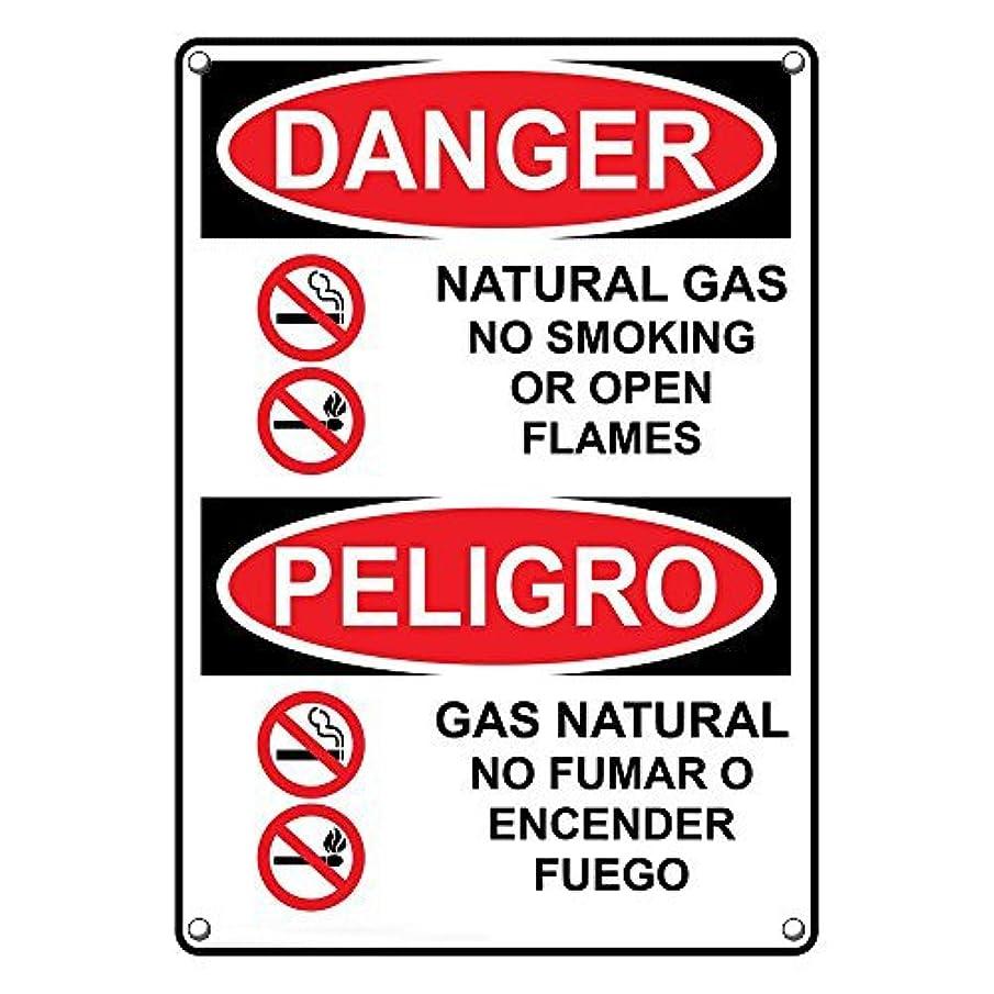 Weatherproof Plastic Vertical OSHA Danger Natural Gas No Smoking Bilingual Sign with English & Spanish Text and Symbol