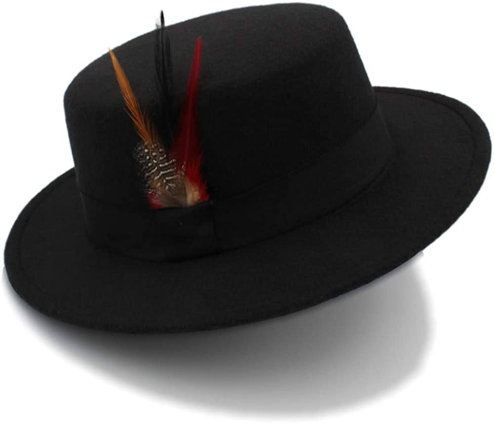 MUMUWU Wmen's Winter Wool Pork Pie Boater Flat Top Hat for Felt Wide Brim Fedora Player Hat