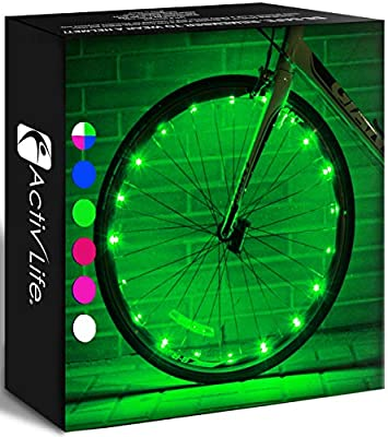 Activ Life LED Wheel Lights (1 Tire, Green) Fun Bicycle Spoke Wire & Bike Frame Safety String Lights, Best Wheelchair Accessories & Top Baby Stroller Accessory Gifts for Men, Women, Children, Teens