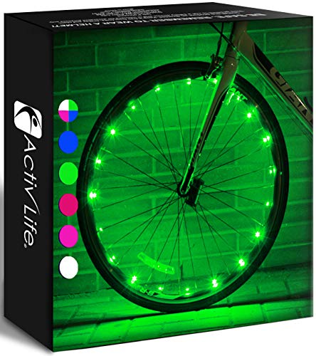 Activ Life LED Wheel Lights (1 Tire, Green) Fun Bicycle Spoke Wire & Bike Frame Safety String Lights, Best Wheelchair Accessories & Top Baby Stroller Accessory, Gifts for Dad, Mom, Children, Popular T