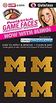 Michigan Wolverines Glitter temporary face tattoos-Michigan bling face decals-4 pack  Glitter