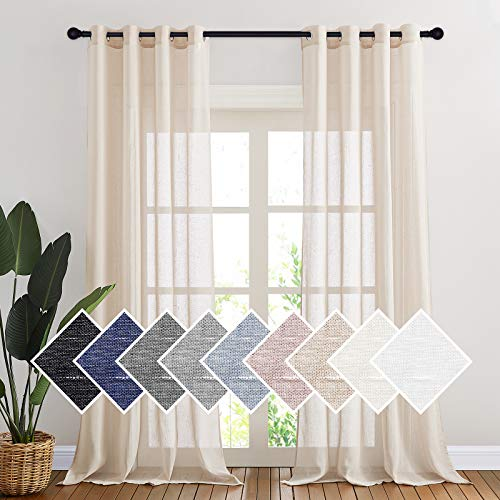 """NICETOWN Linen Textured Sheer Faux Flax Window Curtains, 96"""" Long Drapes Sweep The Floor Decorative Keep Privacy Semi Sheer Panels for Living Room/Villa/Bedroom, 52"""" W, 2 Pieces, Beige"""