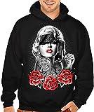 Thug Headband Marilyn Monroe Men's Pullover Hoodie Sweater Large Black