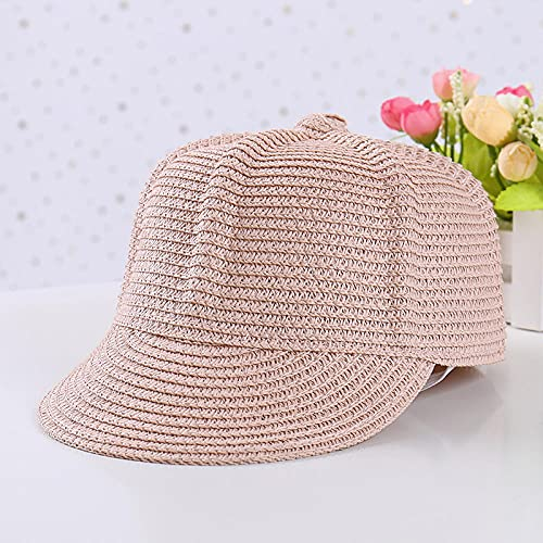 Roshow Sombrero de Verano Hombres y niña Hija Sombrero Sombrero Sombrero Sombrero haljudo Paja Sombrero de Sol al Aire Libre protección Sol Sombrero Sombrero Sombrero-Rosado_Código