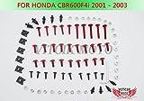 VITCIK Full Fairings Bolt Screw Kits for CBR600F4i 2001 2002 2003 CBR 600 F4i 01 02 03 Motorcycle Fastener CNC Aluminium Clips (Red & Silver)