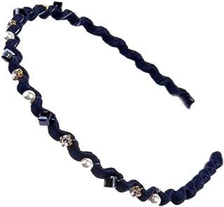 Rhinestone Hard Headbands Non-slip Teeth Blue Hairband for Women